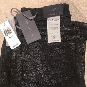 NYDJ Jeans - NYDJ Black Embossed Jean Legging 10P NWT